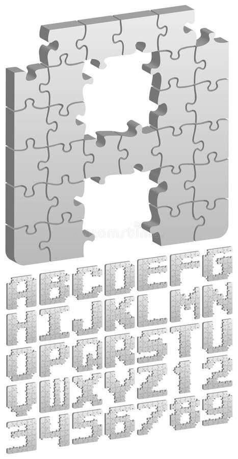 eps-pussel för alfabet 3d royaltyfri illustrationer