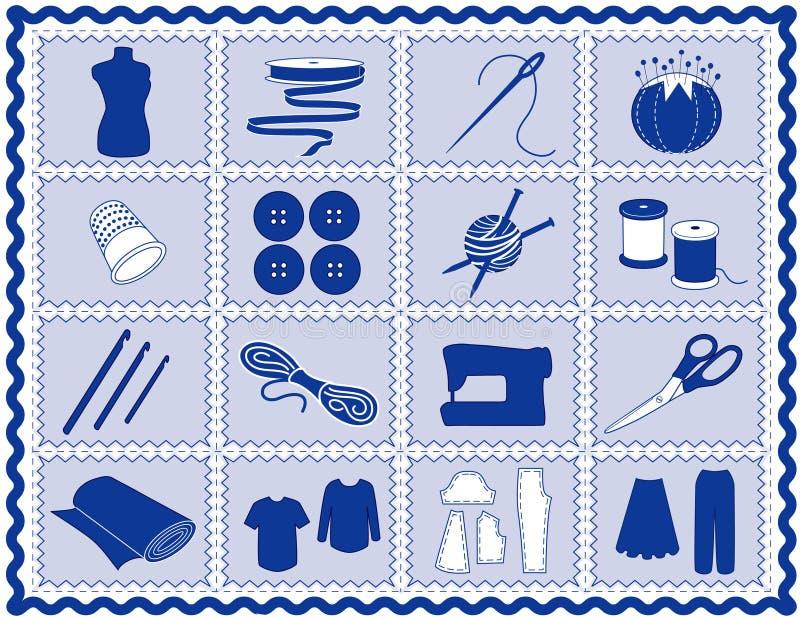 +EPS que cose y iconos del arte, azules stock de ilustración