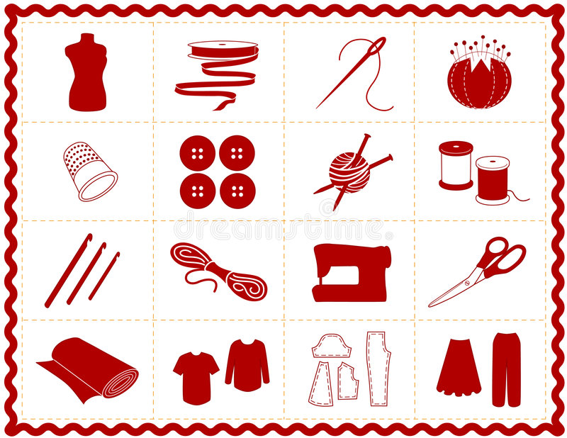 +EPS que cose y iconos del arte, silueta stock de ilustración