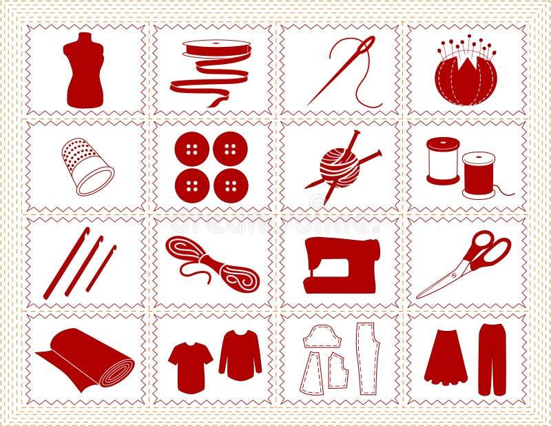 +EPS que cose y iconos del arte, Stitchery ilustración del vector