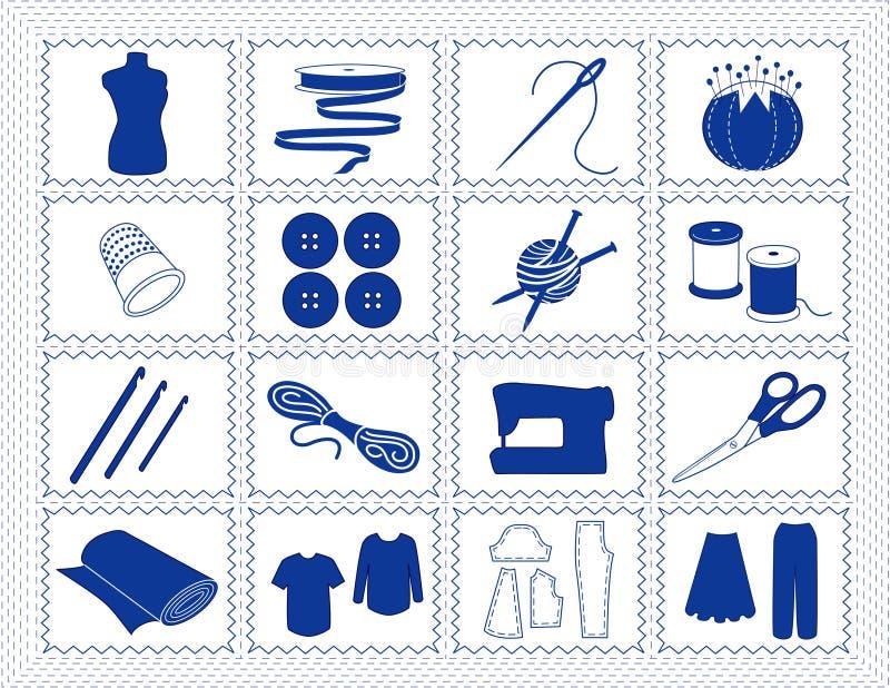 +EPS que cose y iconos del arte, Stitchery azul stock de ilustración