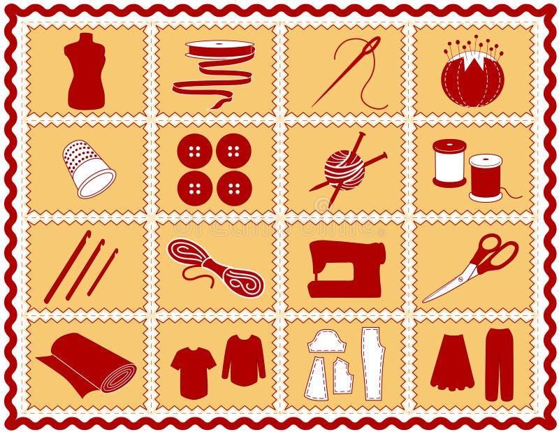 +EPS que Sewing & ícones do ofício, Crimson e ouro ilustração stock