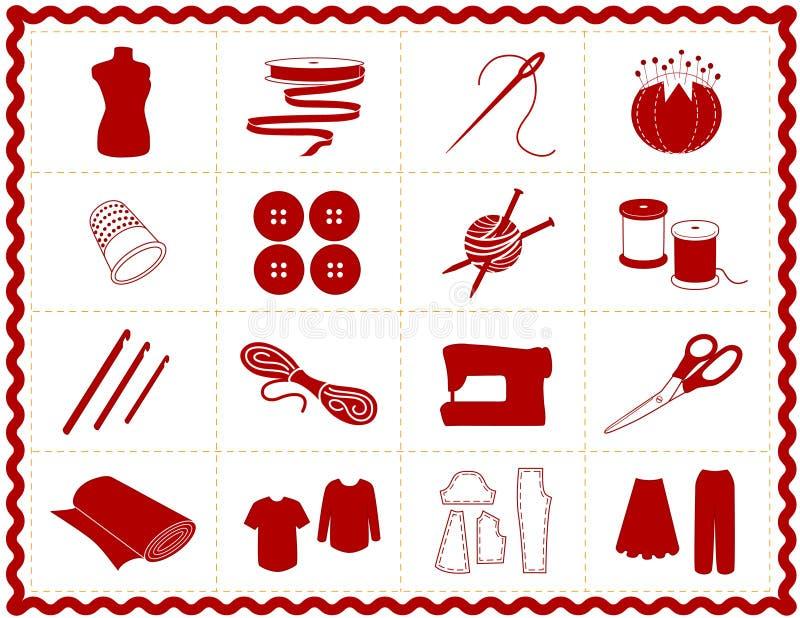 +EPS que Sewing & ícones do ofício, silhueta ilustração stock