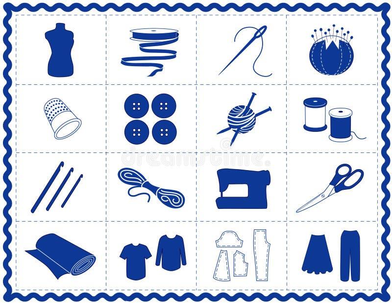 +EPS que Sewing & ícones do ofício, silhueta azul ilustração stock