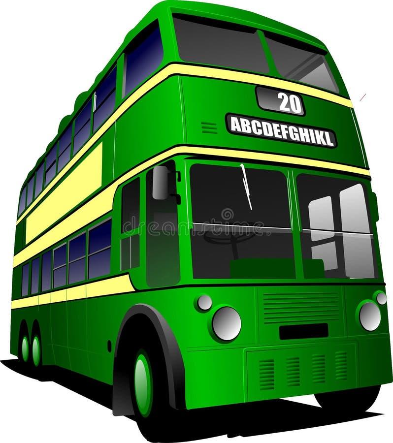 Eps 10 rocznika zielona autobusowa ilustracja, ilustracji