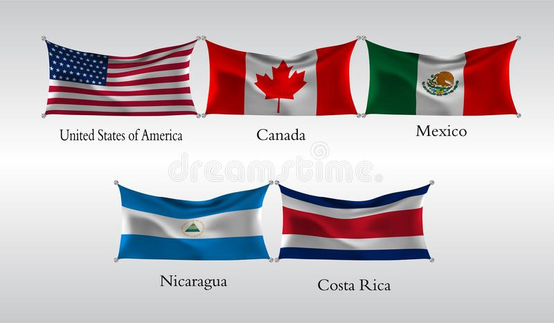 Set Flags of The Americas. Waving flag of United States of America, Canada, Mexico, Nicaragua, Costa Rica. Vector illustration royalty free illustration