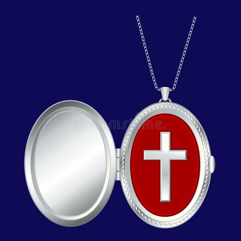 +EPS silberner ovaler Locket mit christlichem Kreuz vektor abbildung