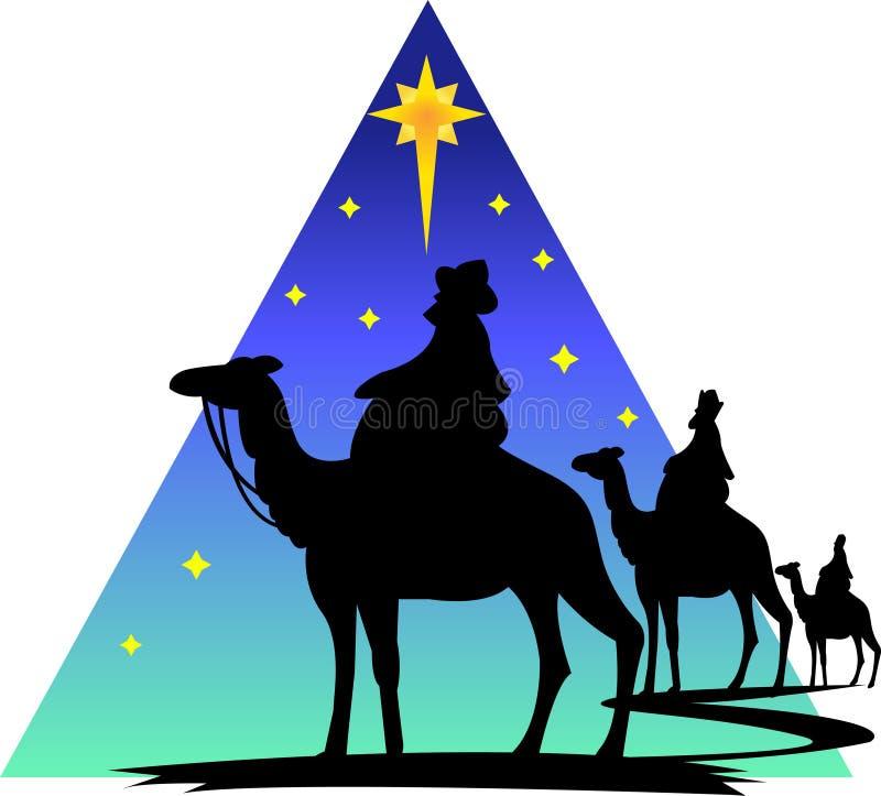 eps-silhouette tre wisemen stock illustrationer