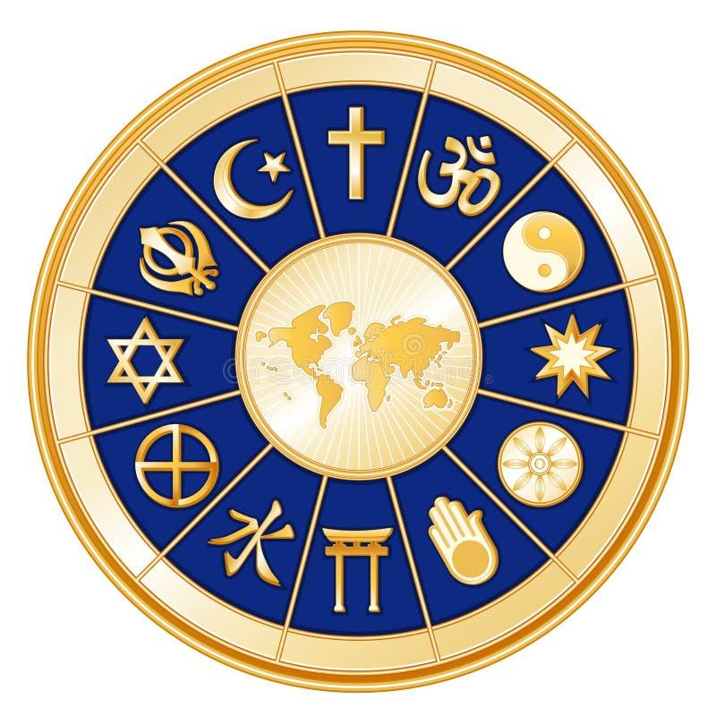 +EPS un mundo de la fe, fondo del azul real ilustración del vector