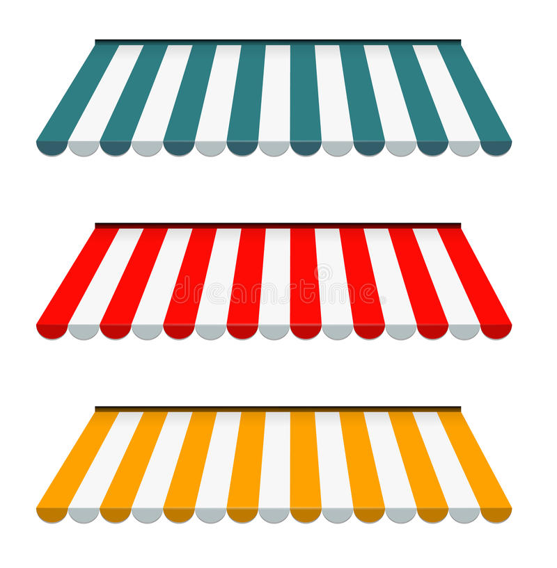 Colorful Set Of Striped Awnings Stock Vector