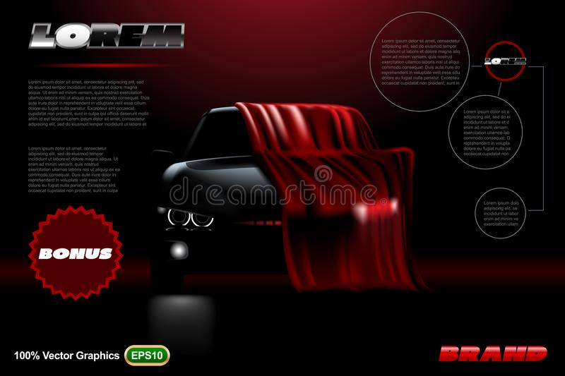 Covered car template on black background. Mock up is ready to be converted to your business needs. Realistic image stock image