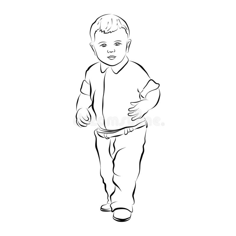 Eps 10 vector hand drawn silhouette of little baby boy. Cute kid dressed up in fashion clothes. Sweet child standing and looking. Forward. Graphic illustration vector illustration