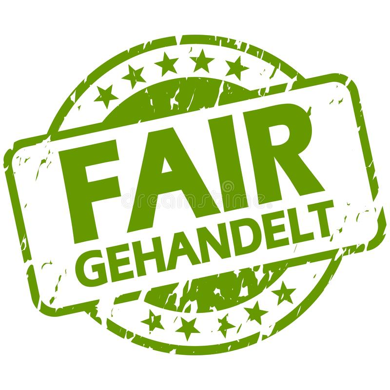 green stamp with Banner Fair trade (in german royalty free illustration