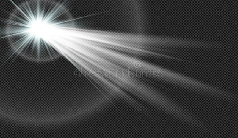 EPS10 Vector transparant de gloed lichteffect van de zonlicht speciaal lens stock illustratie