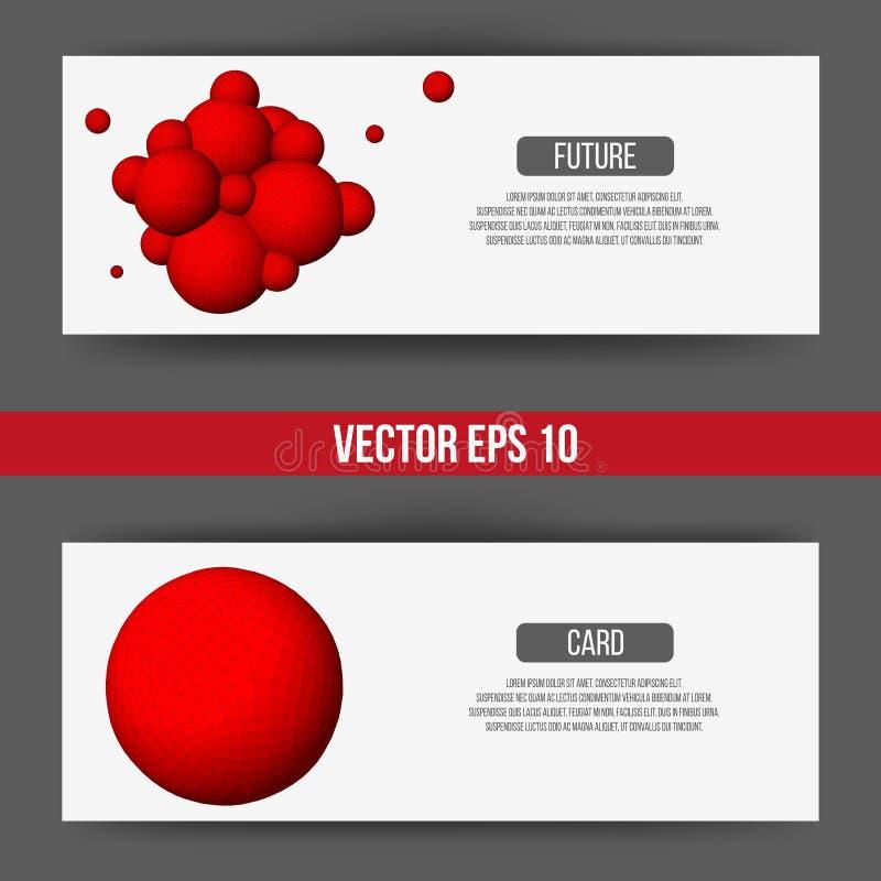 EPS 10 vectorillustratie Abstracte 3D achtergrond met geometrisch ontwerpelementen Het vectoradreskaartje van de ontwerpstijl vector illustratie