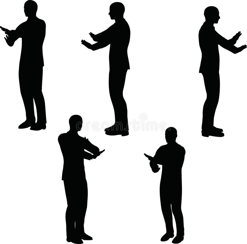 EPS 10 Vectorillustratie in silhouet van zakenman geen manier royalty-vrije illustratie