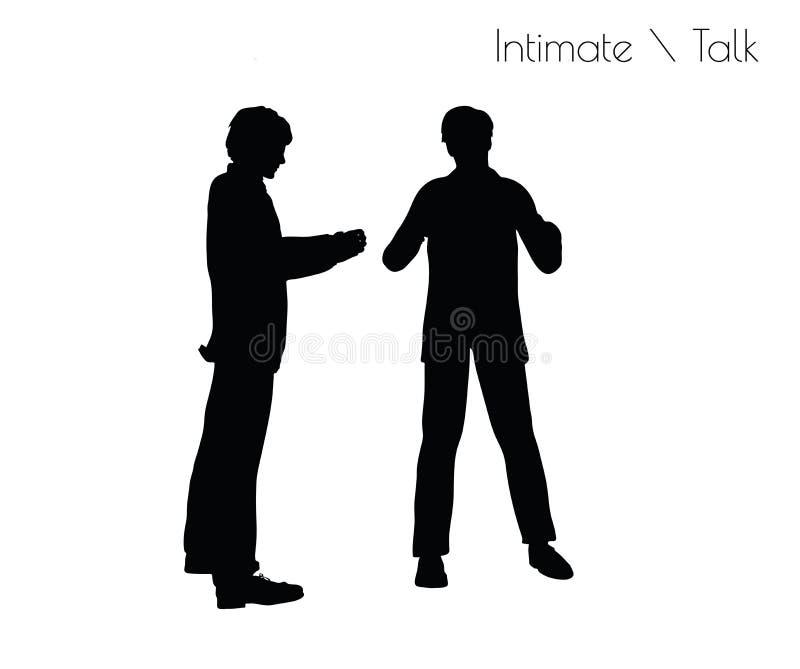 EPS 10 vectorillustratie van de mens in Gespreks Vertrouwelijke Bespreking stelt op witte achtergrond royalty-vrije illustratie