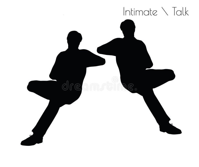 EPS 10 vectorillustratie van de mens in Gespreks Vertrouwelijke Bespreking stelt op witte achtergrond stock illustratie