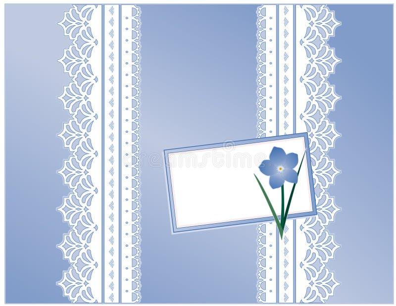 +EPS vergessen mich nicht Geschenk-Kasten, blaue Satin-Spitze, Karte lizenzfreie abbildung