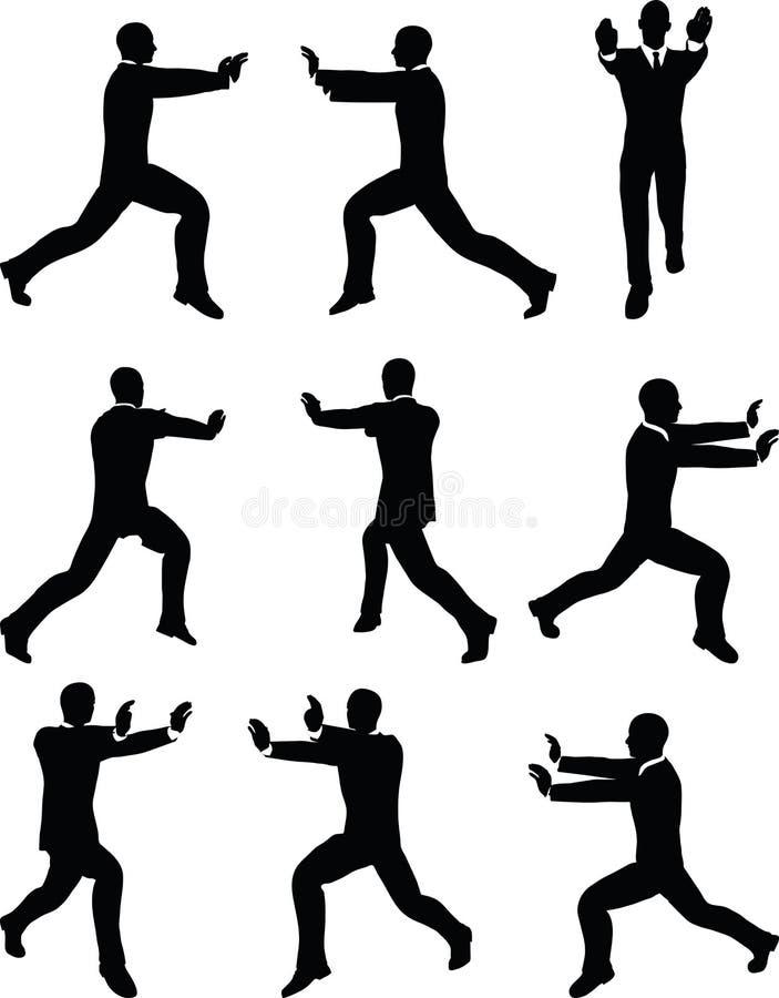 EPS 10 wektoru ilustracja biznesowego mężczyzna sylwetka w pchnięcie pozie ilustracji