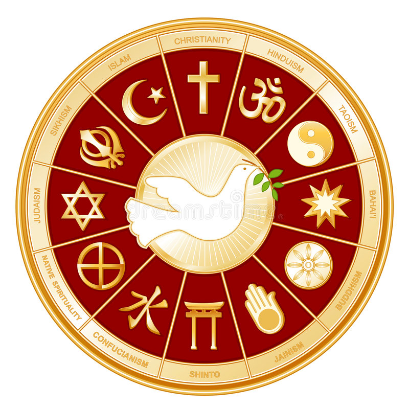+EPS Weltreligionen und -taube   lizenzfreie abbildung