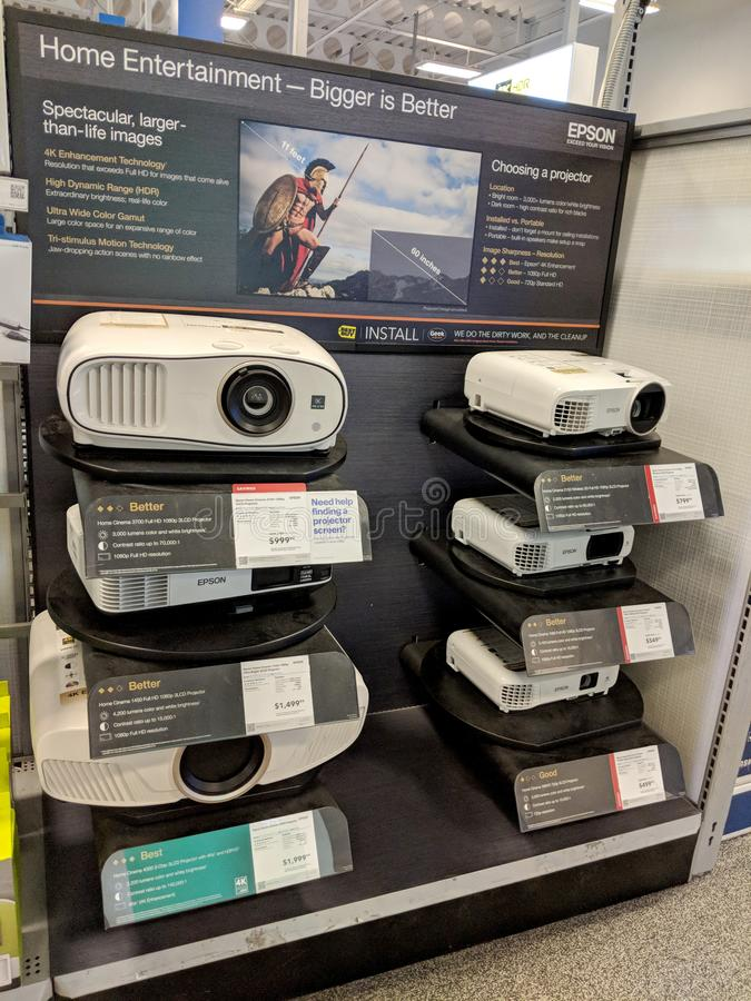 Epson projektory na pokazu zakupu sklepie najlepiej zdjęcia royalty free