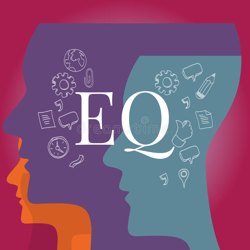 EQ συναισθηματική νοημοσύνη πηλίκου διανυσματική απεικόνιση