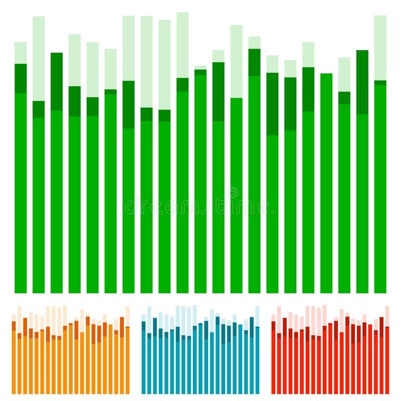 Eq, equaliser met het overlappen verspert - grafiek, grafiekw Ra vector illustratie