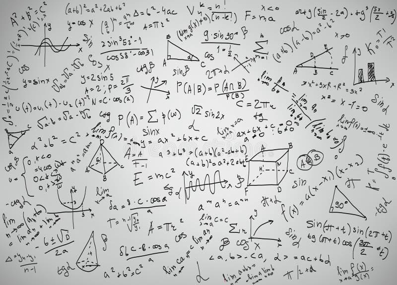 Equações da matemática ilustração stock