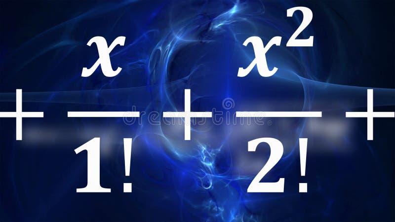 Equações da matemática que voam e que desaparecem na distância imagens de stock