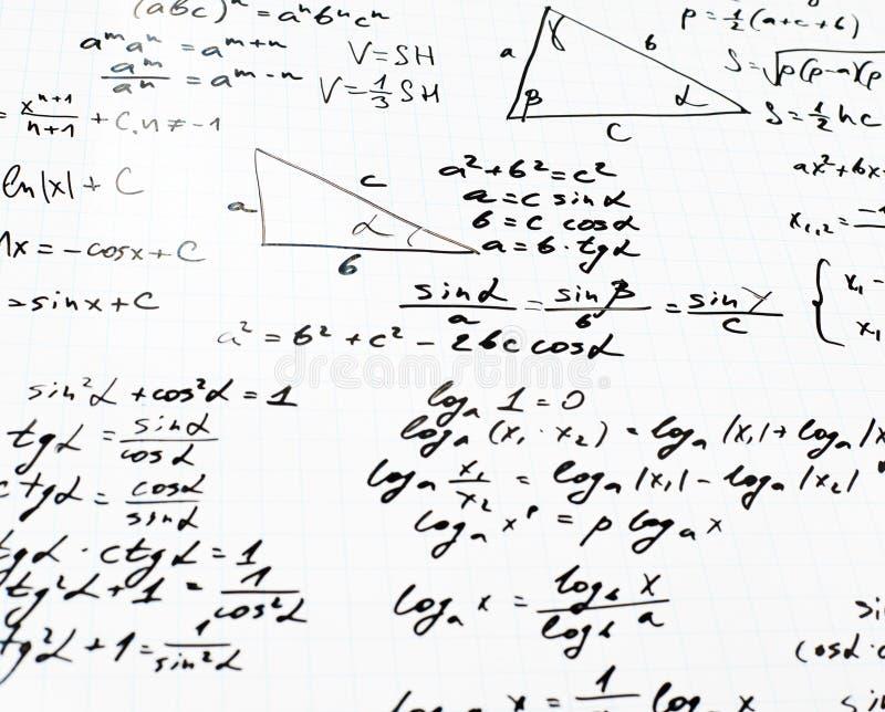Equações e fórmulas da matemática do trigonometria fotos de stock