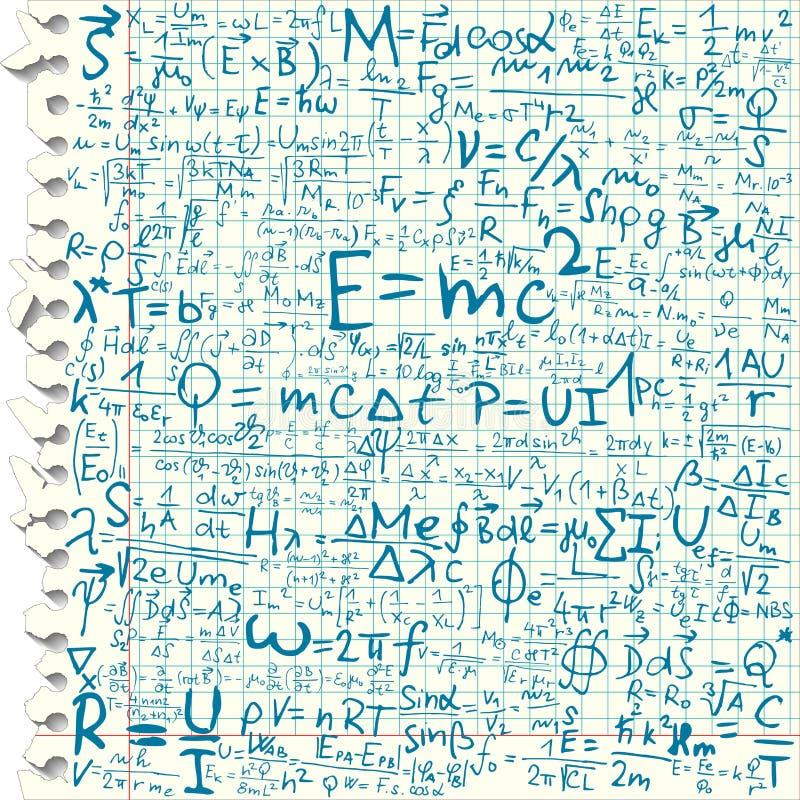 Equações físicas ilustração do vetor