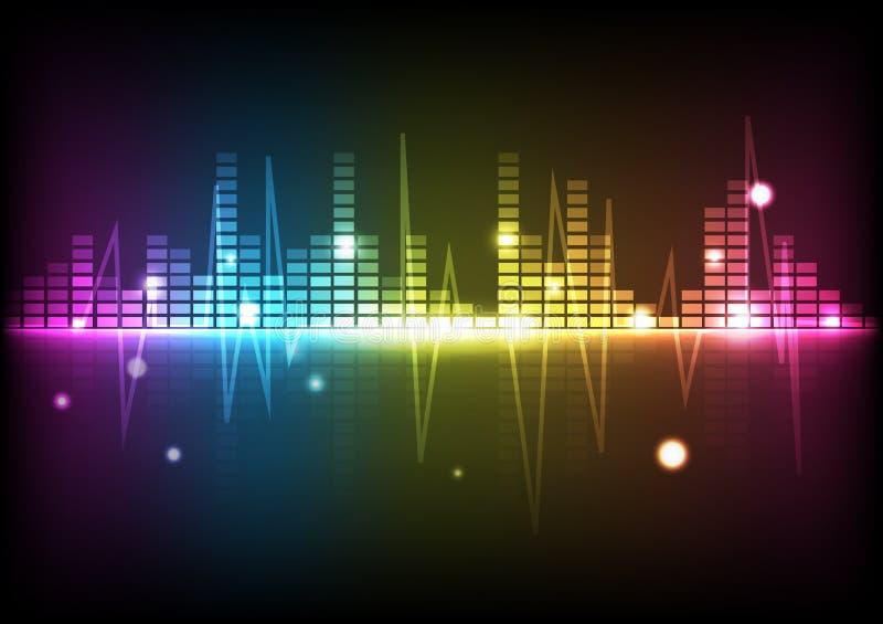 Equa da música do espectro do disco da tecnologia digital do fundo do sumário ilustração do vetor