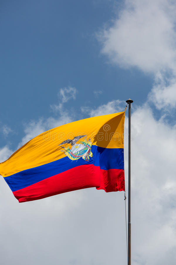 Download Equador Flag Waving With Cloudy Blue Sky Stock Photo - Image of patriotic, orange: 56333172