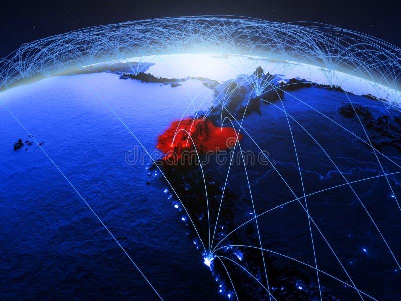 Equador na terra digital azul do planeta com a rede internacional que representa uma comunicação, o curso e as conexões 3d ilustração stock