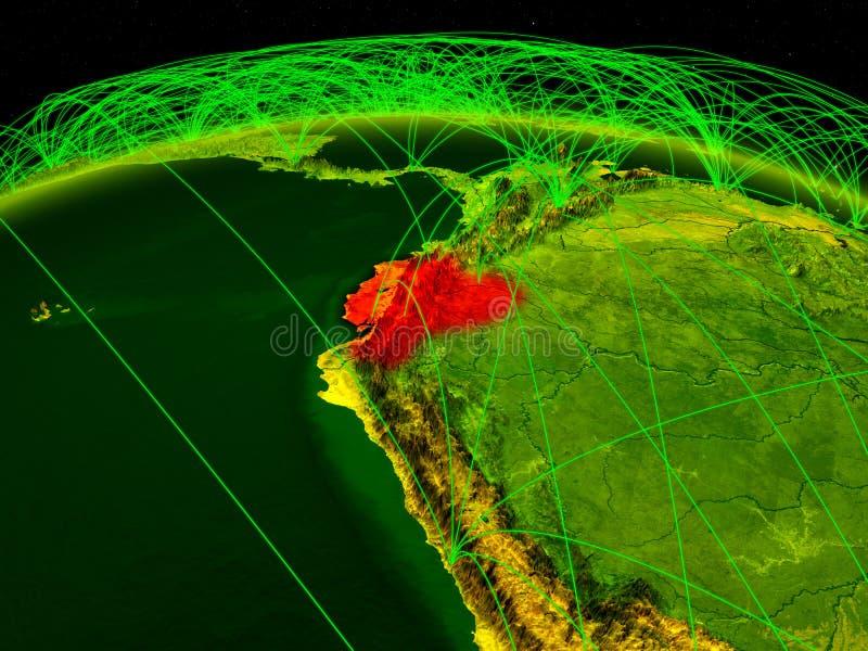 Equador na terra digital do planeta com a rede internacional que representa uma comunicação, o curso e as conexões ilustração 3D ilustração do vetor