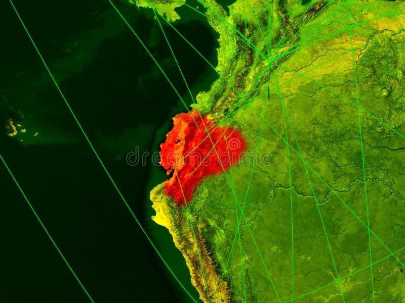 Equador no mapa digital ilustração do vetor