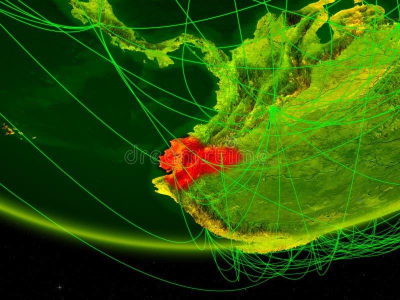 Equador no modelo verde da terra do planeta com a rede que representa a era digital, o curso e a comunicação ilustração 3D elemen ilustração stock