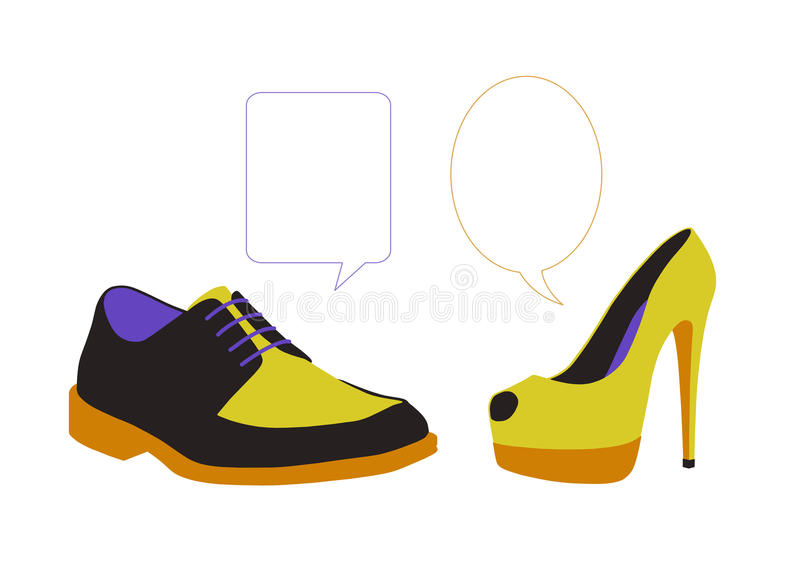 Equal dialogue between colorful shoes. Equal dialogue between man's and woman's colorful shoes, vacant text bubbles next to them stock illustration
