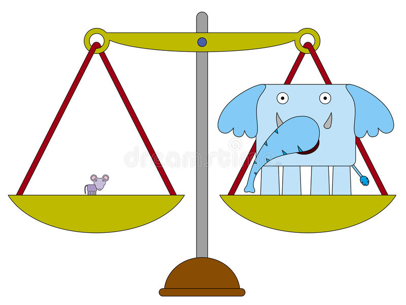 We are equal. An elephant and a mouse balanced equally on a scale vector illustration