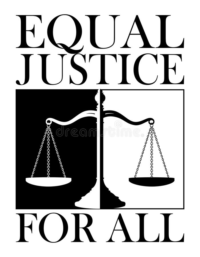 Equal Justice For All. Is an illustration of a design depicting the concept of equal justice for everyone. Done in a striking black and white for emphasis stock illustration