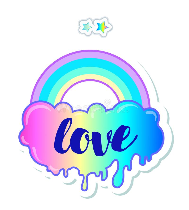 Equal love. Inspirational Gay Pride poster with rainbow and cloud. spectrum colors. Homosexuality emblem. LGBT rights concept. St. Icker, patch, poster graphic royalty free illustration