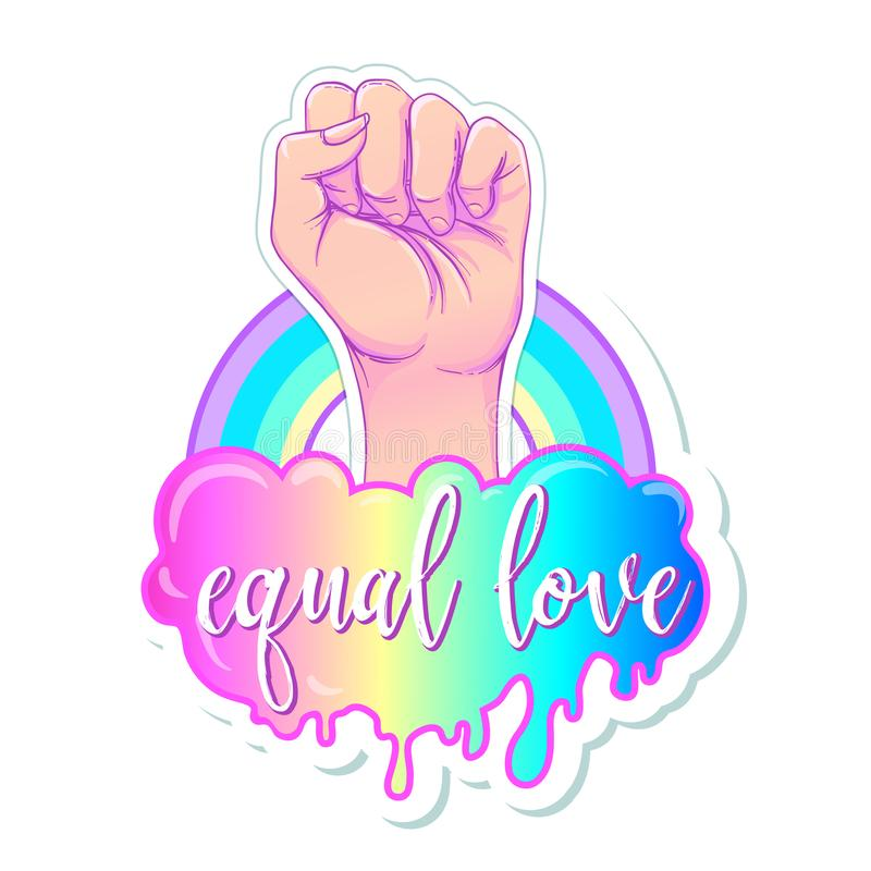 Equal love. Inspirational Gay Pride poster with rainbow spectrum. Colors. Homosexuality emblem. LGBT rights concept. Sticker, patch, poster graphic design vector illustration