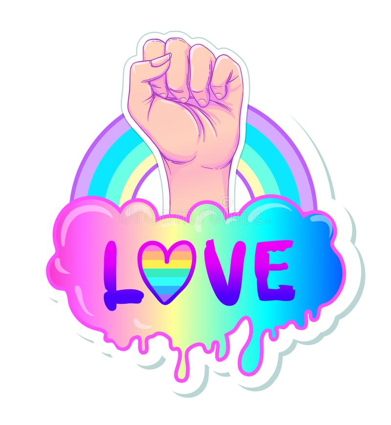 Equal love. Inspirational Gay Pride poster with rainbow spectrum. Colors. Homosexuality emblem. LGBT rights concept. Sticker, patch, poster graphic design royalty free illustration