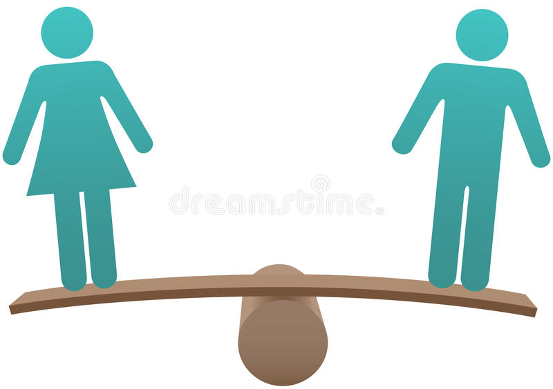Equal male female sex equality balance. Equal man and woman sex equality gender balance stock illustration