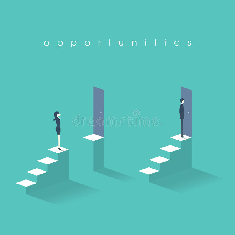 Equal opportunities business concept with businesswoman and businessman standing in front of doors on top stairs. Equal opportunities business concept with stock illustration