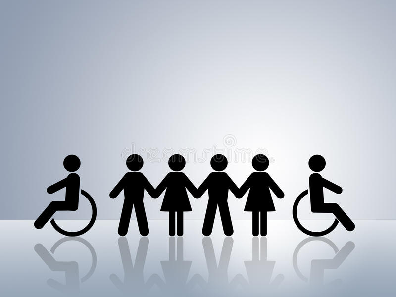 Equal opportunities disabled wheelchair equality stock illustration