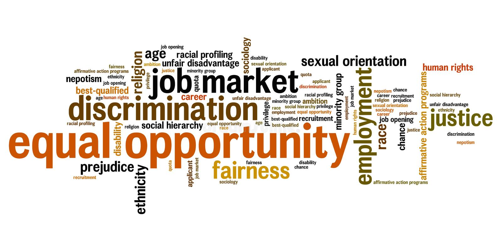 Equal opportunity. Issues and concepts word cloud illustration. Word collage concept. Gender employment words stock illustration