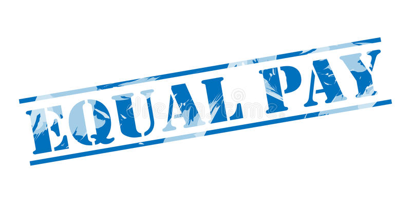 Equal pay blue stamp. On white background vector illustration