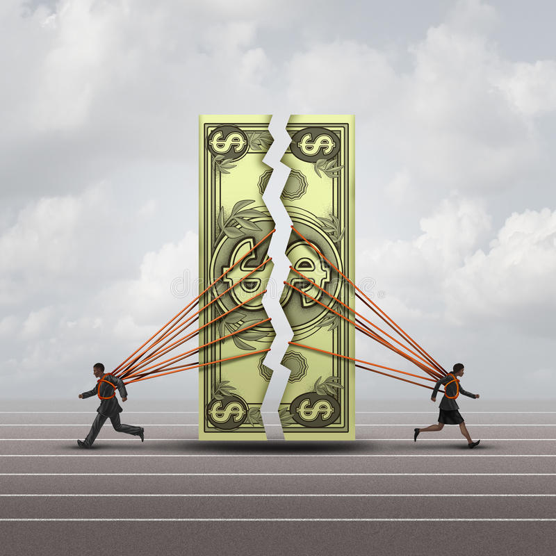 Equal Pay Concept. And gender wage gap symbol as a man and woman pulling apart a generic dollar as a financial compensation metaphor for equality in the royalty free illustration